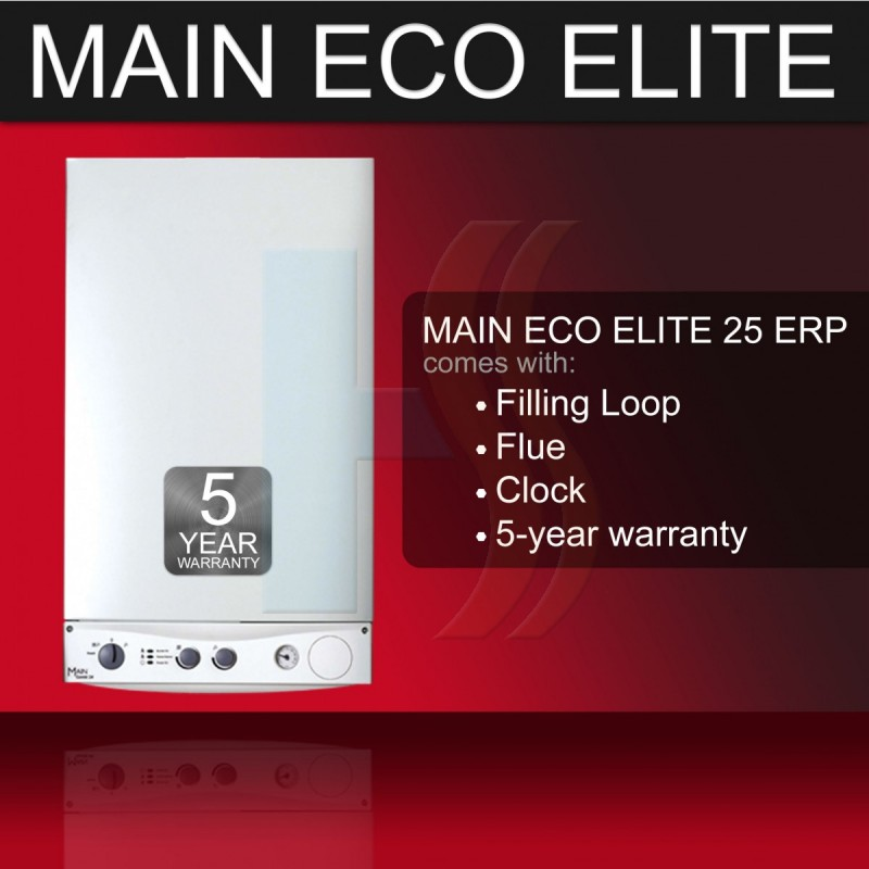 Main Eco Elite 25 Condensing Combi Boiler & Flue & Clock  ERP **** 5 Year Warranty ****